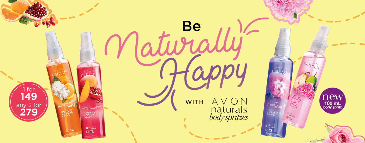 Spray Happines with the new Avon Natural Body Spritzes!