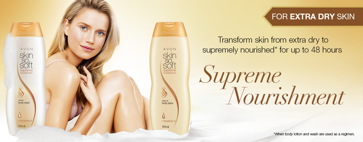 Transform extra dry skin to supremely nourished with Skin So Soft Supreme Nourishment lotion and body wash